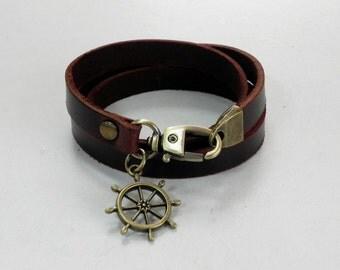 Leather Bracelet Women Bracelet Leather Cuff Bracelet Leather Charm bracelet in Brown Color with Metal Helm Charm