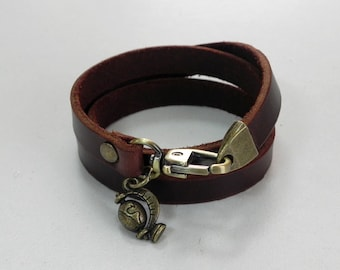 Leather Wrap Bracelet Leather Charm Bracelet Brown Color with Metal Globe Charm