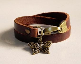 Leather Bracelet Women Bracelet Leather Cuff Bracelet Leather Charm bracelet in Brown Color with Metal Butterfly Charm