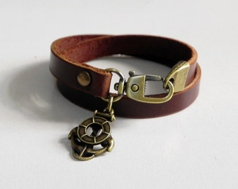 Brown Leather Charm Bracelet Leather Wrap Bracelet with Metal Bronze Tone Anchore Charm
