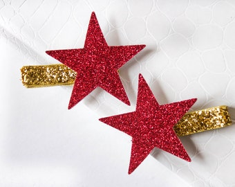 Glitter Star Clip Set - Red Star Clips - Christmas Hair Clips - Sparkly Red Star - Gold Hair Clip - Gold And Red Hair bows - Glitter Gold