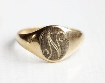 14K Gold Fill Signet Ring - Letter N