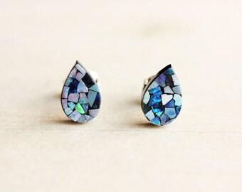 Opal Mosaic Tear Drop Studs
