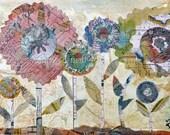 Original Small Mixed Media Art Flower Collage 4 x 5