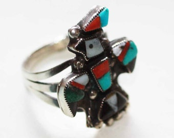 Zuni Style Inlaid Ring Thunderbird Coral Onyx MOP Sterling Size 7 US British O