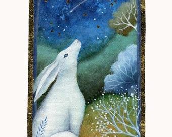 A fairytale art print .  'Moon Gazer'' by Amanda Clark.