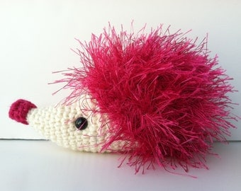 Amigurumi Crochet Fuchsia Pink Hedgehog Plush Kawaii Plush Hedgehog Stuffed Animal Hedgehog Plushie Hedgehog Gift Under 25 Hedgehog Doll