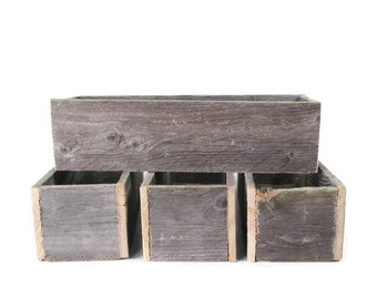 4 Rustic Wedding Centerpiece Boxes - Use As Planters After Event - Wedding Decor