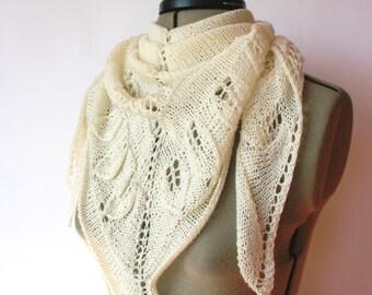 Triangular shawl, neck warmer, shawlette, wrap, lace shawl, triangular scarf, knitted shawl, hand knit shawl, off white shawl, merino wool