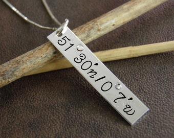 Latitude Longitude Necklace , Coordinates Jewelry , Custom Location with Coordinates , Sterling Silver Latitude Longitude Necklace