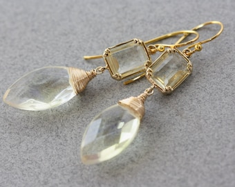 Yellow Dragonfly Marquise Quartz, Bridal Earrings, Bridal Jewelry, Weddings, Fashion Trend, Yellow Earrings, Gift for Wife, Trending Jewelry