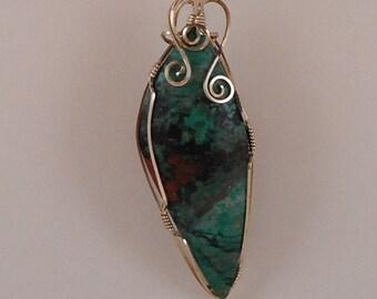 Long Sonoran Sunrise pendant, sterling silver wire wrap - P231