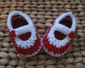 Peppermint Kiss Candy Cane Red and White Christmas Baby Janes 0-3 Months - free shipping included