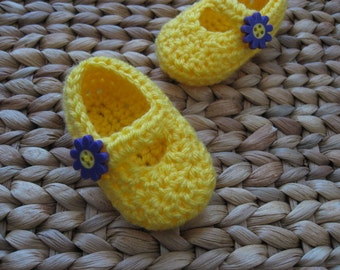 Fun Daisy Yellow Baby Mary Janes 3-6 Months - shipping included