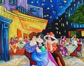"Landscape Oil Painting Cafe van Gogh Terrace at Night   Tarkay Ladies 14"" x 18"" Original Oil Painting  by k Madison Moore"