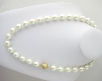 Hand Knotted Glass Pearl Necklace with Ornate Clasp