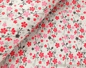 Lovely Red Pink Small Cherry Blossom Sakura Rain On Pale Gray -Japanese Thin Cotton Fabric (Fat Quarter)