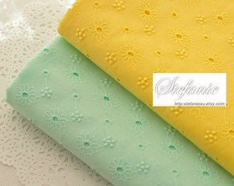 Chic Yellow Pale Mint Eyelet Embroidery Lace Daisy Sunflower Floral-Japanese Cotton Fabric (1/2 Yard, Choose Color)