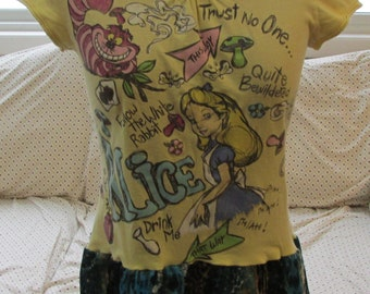 Alice in Wonderland upcycled tee tunic yellow & turquoise ruffle girls L-XL ladies S refashioned