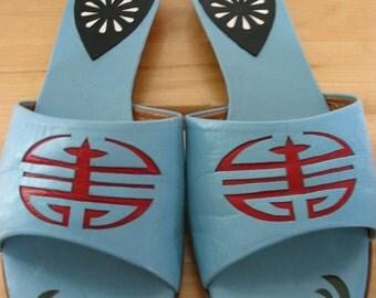 Audley London Asian Motif Sandal Slides Size 8 B