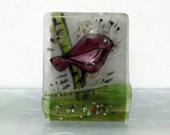Fused Glass Painting for your tabletop  decoretion, ping  bird  landscape on glass