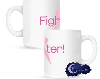 Fighter - Pink Ribbon, Breast Cancer Awareness 15 oz Coffee Mug