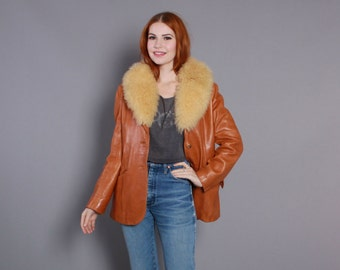 70s FUR Collar LEATHER JACKET / 1970s Buttery Soft Leather with Fluffy Shearling, s-m