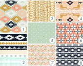 Coral, Navy and Mint Baby Bedding : Custom Modern Crib Bedding - Southwestern, arrows