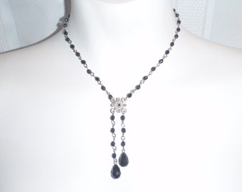 Vintage Necklace black Silver Tone Chain for Young Women