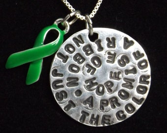 Promise of Hope necklace, Green Awareness Ribbon necklace, Kidney Disease Awareness, Cerebral Palsy Awareness, Celiac Disease Awareness
