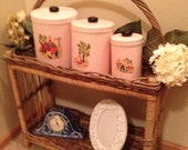 Sale Vintage Three Pink Black Farm Scene Picture Decal Canisters Flour Sugar Coffee Kitchen Men Women