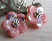 Antique Pink Glass Flower Earrings, Sterling Silver Earwires, Spring and Summer Fashion
