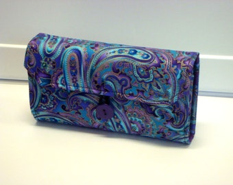 Cash Envelope Wallet  / Dave Ramsey System / Zipper Envelopes - Blue Purple Paisley