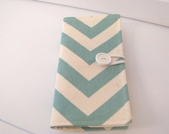 12 Slot Loyalty Card Organizer Holder,  Business Card,Gift Card Wallet -  Blue and Natural Chevron