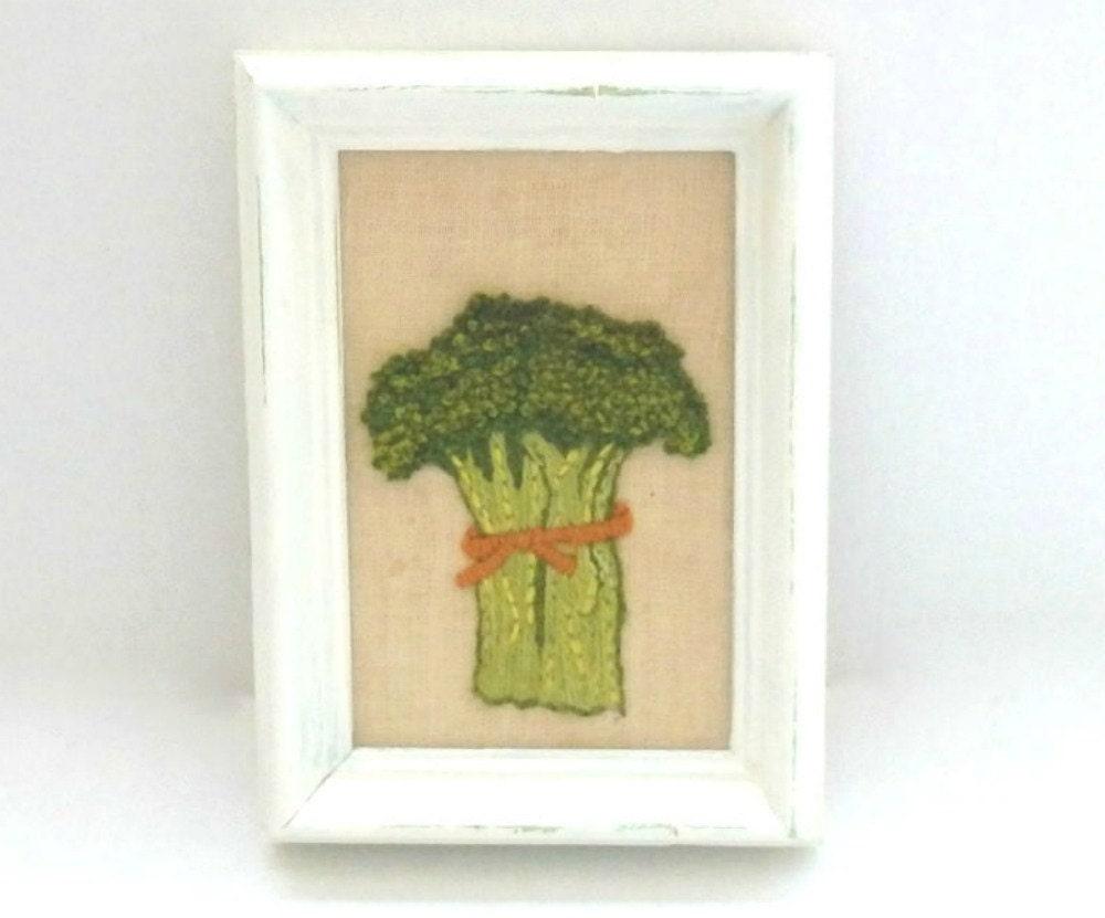 Crewel broccoli framed art vintage crewel art kitchen wall for Kitchen framed wall art