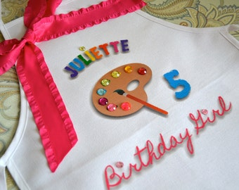 ONE Art Party Apron with UPGRADE Painting Pottery Personalized Apron Smock with Palette adorned with colorful Gems