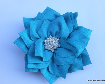 Turquoise Fabric Hair Flower with Rhinestone Cluster Center Hair Clip - Wedding Clip -Toddler Hair Clip - Girls bows - no slip