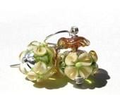 Lampwork Bead Earrings, Green Peridot Base with Creamy Leaves, Golden Ruffles, Lampwork Glass Earrings, Dangle Earrings, Sterling Silver
