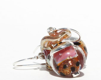 Lampwork Bead Earrings, Golden Animal Print, Pink Peach, Golden Ruffles, Lampwork Glass Earrings, Dangle Earrings, Swarovski Beads