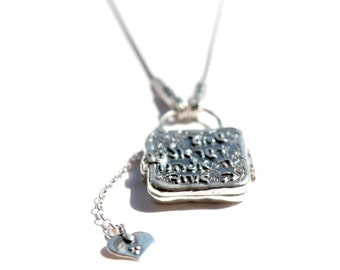Sterling Silver necklace locket engraved with Shma Israel Prayer with a charm heart adorable jewelry