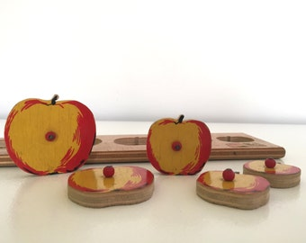 APPLES to APPLES. Vintage SIMPLEX Wood Toy Puzzle - Five Apples - Yellow and Red - Made in Holland