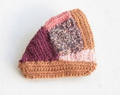 Geometric Patchwork Crochet Brooch