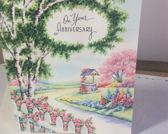 Vintage Anniversary Card 50s Wishing Well