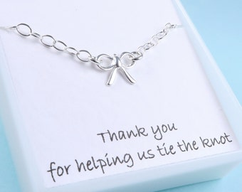Silver Bow Bracelet, Bridesmaids gift, Message Card, Sterling Silver, Bridal jewelry, Tie the Knot