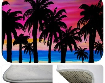 Pink sunset beach palm trees bathmat from my art