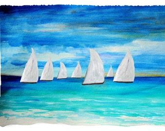 Sunset Sailing Throw Blanket from my original art