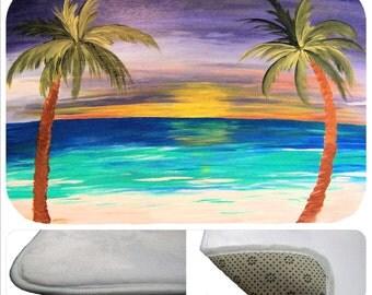 Tropical sunset beach bathmat from my art