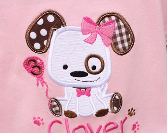 Personalized Appliqued Puppy Dog Birthday on Pink