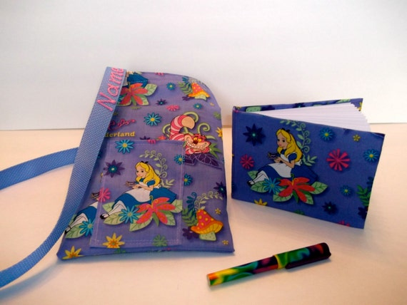 Disney Alice in Wonderland autograph book bag with book bag and pen.  FREE personalization. Adjustable strap