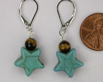 Turquoise and Tiger Eye Stars Earrings